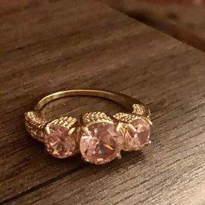 Triple pink sapphire semi precious gemstone ring